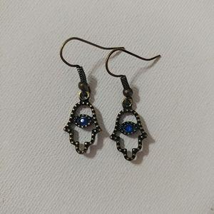 🆕 Antique Copper Sapphire Blue Hamsa Earrings 💙